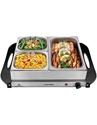 "Chefman Electric Buffet Server + Warming Tray w/Adjustable Temperature & 3 Chafing Dishes, Hot Plate Perfect for Holidays, Catering, Parties, Events & Home Dinners, 14"" x 14"" Surface, Stainless Steel"
