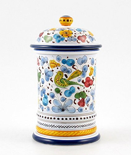 Hand Painted Italian Ceramic 8.7-inch Shaped Canister Arabesco - Handmade in Deruta by Fima