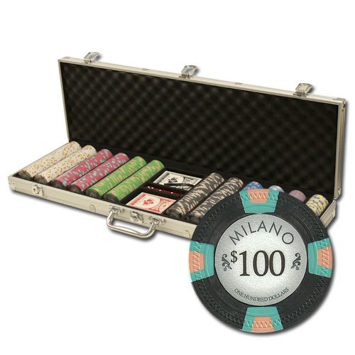 600 Ct Milano Poker Chip Set by Claysmith Gaming in Aluminum Case