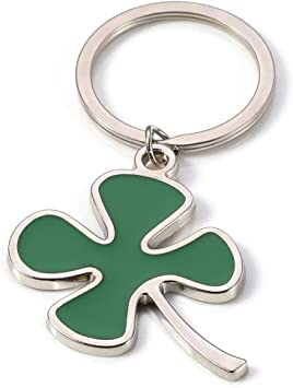 Four Leaf Clovers Lucky Leaves Pendant for Keyring Keychain Keyfob Accessory
