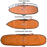 Wave Tribe Fish Surfboard Bag - Hemp Day Bag Keeps Surfboard Cooler + Alloy Reflection - YKK Never Break Nickel Plated Zippers - 4 Pockets (Grizzly Bear Brown, 6', Fish Hybrid Surfboard, Fits 1 Board)