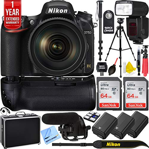 Nikon 1549 D750 DSLR 24.3MP Digital Camera with AF-S NIKKOR 24-120mm f/4G ED VR Lens Bundle with 2X 64GB Memory Card, Automatic Flash, 2X Battery, 1 Year Extended Warranty and Accessories (15 Items)