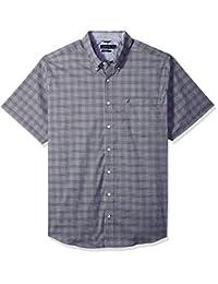 Nautica mens big-tall Wrinkle Resistant Short Sleeve Plaid Button Down Shirt