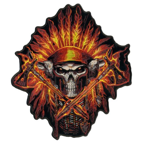 Hot Leathers, FLAME HEADDRESS INDIAN, Exceptional Quality Iron-On / Saw-On, Heat Sealed Backing Rayon PATCH - 11