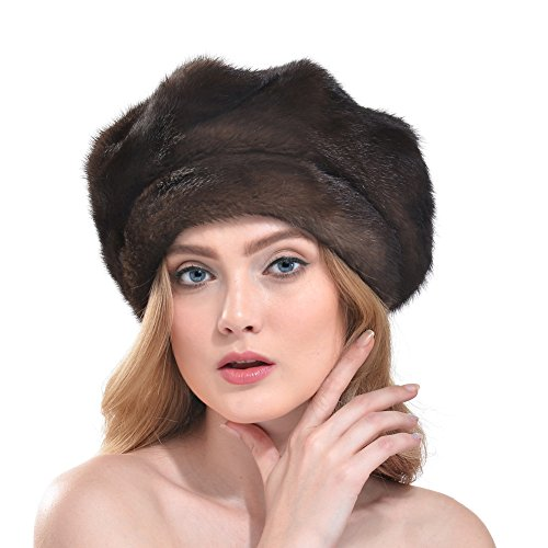 Vemolla Ladies Real Mink Beret Hat Brown