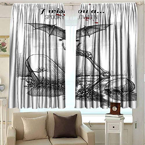 (Halloween Decorations Light Luxury high-end Curtains Dead Skull Zombie Out Grave and Flying Bat Hand Drawn Spooky Picture Privacy Protection W72 xL63 Black White)