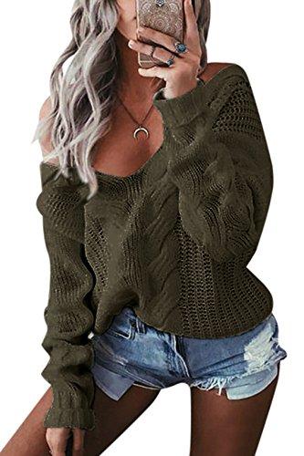 YOINS Oversize Pullover Damen Strickpullover Damen Sexy Off Shoulder Langarmshirt Schulterfrei V-Ausschnitt Causal T-Shirt