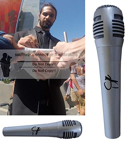 Seth Rollins WWE Raw Double Champion Autographed Hand Signed Microphone with Exact Proof Photo of Seth Signing the Mic and Coa, WWF, Ring of Honor, Professional Wresting, World Wrestling Entertainment from Southwestconnection-Memorabilia