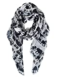 GERINLY Animal Print Scarves: Cute Elephant Pattern Wrap Scarf For Women (Beige)
