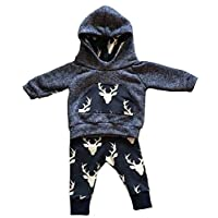 Toddler Infant Baby Boys Deer Long Sleeve Hoodie Tops Sweatsuit Pants Outfit ...
