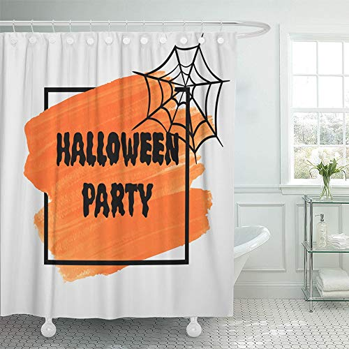 Emvency Decorative Shower Curtain Orange Letter Halloween Party Sign Text Over Brush Paint Abstract Watercolor 72