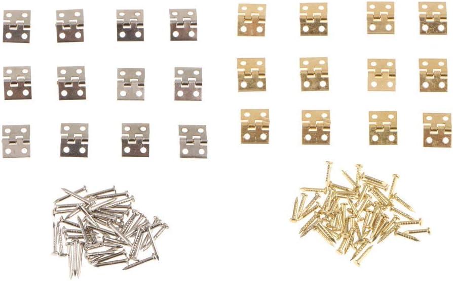 Ogquaton 24Pcs Pequeñas bisagras metálicas Caja de joyería Muñecas Bisagras de casa 8mmx10mm Oro Plata Color Durable ...