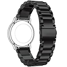 Replacement 3 Beads Stainless Steel Bands for Motorola Moto 360 (2nd Gen.) - Mens 46mm (Black)