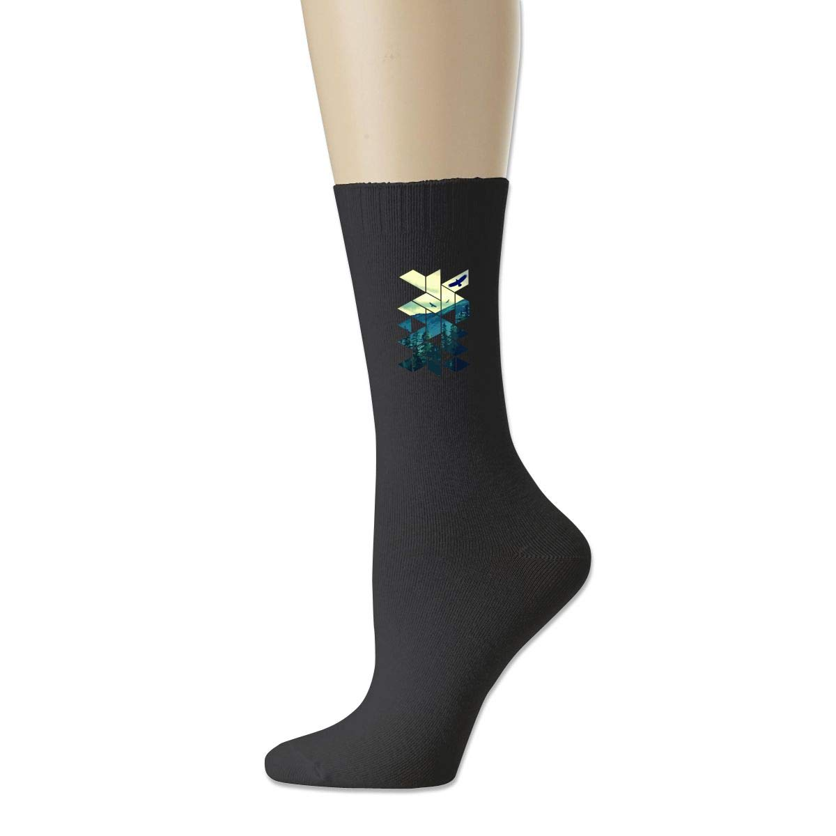Rigg-socks Vintage Pines Eagles Mountain In Geometric Shape Mens Comfortable Sport Socks Black