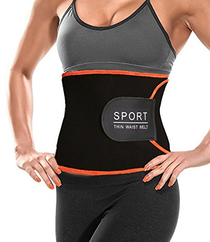 GainKee Premium Waist Trimmer Belt Sweat Enhancer -Adjustable Abdominal Trainer with Sauna Suit Effect for Men & Women Weight Loss Wrap