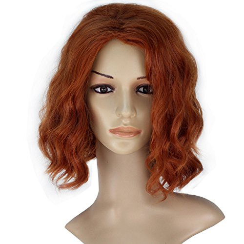 Miss U Hair Women Short Curly Reddish Brown Party Color Synthetic Costume Cosplay Wig]()