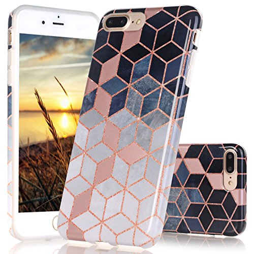 Pink Cube Case (iPhone 7 Plus Case, iPhone 8 Plus Case, JAHOLAN Shiny Rose Gold Gradient Cubes Design Clear Bumper TPU Soft Rubber Silicone Cover Phone Case for Apple iPhone 7 Plus / iPhone 8 Plus)
