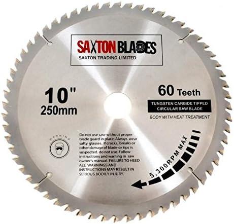 Saxton Tct Lame De Scie à Bois Circulaire 250 Mm X 30 Mm X 60 Dents Pour Scie Bosch Makita Dewalt De 255 Mm