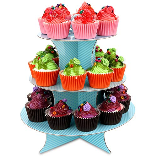 Gifbera 3 Tiers Cardboard Cupcake Stand Tower Birthday Wedding Party Dessert Display Holder