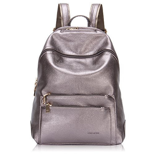 Hynes Victory Faux Leather Backpack for Women Dressy Campus Backpack Purse Metallic silver
