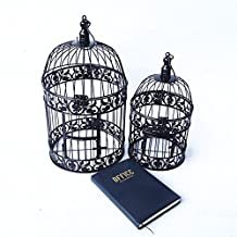 PET SHOW Round Birdcages for Small Birds Metal Wall Hanging Bird Cage Color Black XS Pack of 1