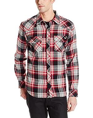 Men's Long Sleeve Brushed Flannel Plaid Western Shirt, Black, Large