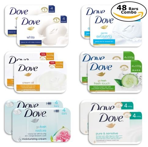 Dove Delight Bar Soaps, Variety Pack (6 Type - 8 Bars Ea.), Total 48 Count - 3.52 Oz Each Dove Moisturizing Bar Soap