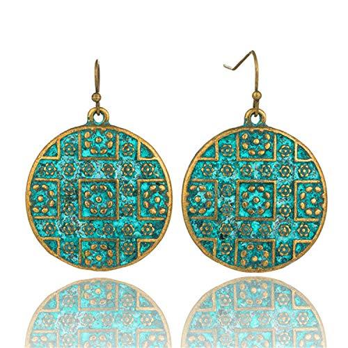 atement jewelry Exaggerated antique green metal water drop earrings for women Boho flowers tassel earring,E020608B ()