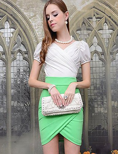 HJL-DABUWAWA Women's Simple Solid Color Bodycon Slim Skirt(Green) , green-s , green-s from SDFSDCF