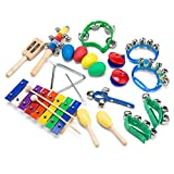 WONYERED Kids 11PCS Musical Instruments for Kids Xylophone Percussion Toy Set Preschool Educational Early Learning Rhythm Tools for Boys Girls Baby with Carrying Bag