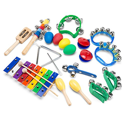 Tambourine Carrying Case - Wonyered Kids 11PCS Musical Instruments Xylophone Percussion Baby Toy Set Preschool Educational Early Learning Rhythm Tools for Boys and Girls Baby with Carrying Bag