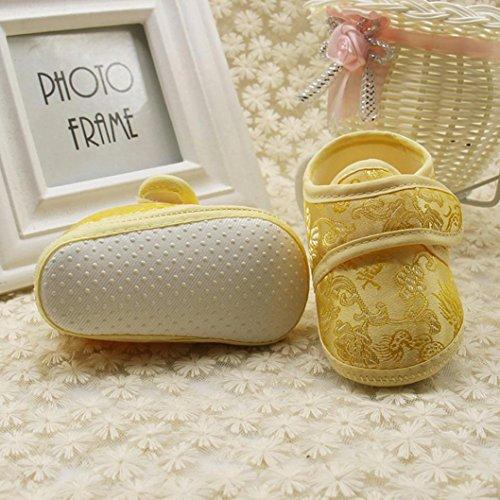 Igemy 1 Paar Neugeboren Säugling Baby Blumen gedruckt Sneaker Anti-Rutsch Soft Sole Kleinkind Schuhe Gelb