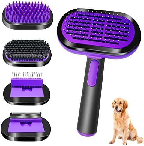 PeroBuno 5 in 1 Pet Grooming Brush Dog Cat Brush Self Cleaning Slicker Brush Bath/Bristle/Pin Brush Dog Deshedding Tool Dematting Comb, long and short hair