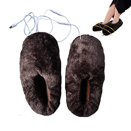 Lifemall Unisex Furry Heated Warm Slippers with USB port, Electric Heating Cotton Shoes (Brown) by Lifemall