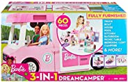 Barbie 3-in-1 DreamCamper Vehicle, approx. 3-ft, Transforming Camper with Pool, Truck, Boat and 50 Accessorie