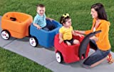 Step2 Push Wagons for Toddlers with Long Handle, Seat Belts and Molded-In Drink Holder - Durable Plastic Lightweight Ride-On Car Toys - Kids Choo Choo Train and Trailer Combo with Storage