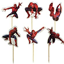 24pcs The Spiderman Cupcake Toppers for Birthday Party Cake Decoration Supplies