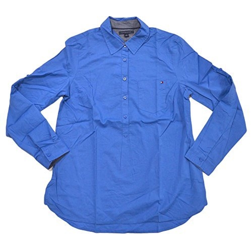 Tommy Hilfiger Wholesale - Tommy Hilfiger Womens Long-Sleeve Blouse (Large, Bright Blue)
