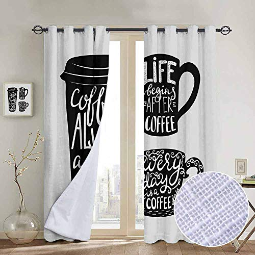 Modern Farmhouse Country Curtains Coffee,Quotes about Coffee with Take Away Mug Cup Silhouette Drinking Addiction Theme,Pale Grey Black,Design Drapes 2 Panels Bedroom Kitchen Curtains 54