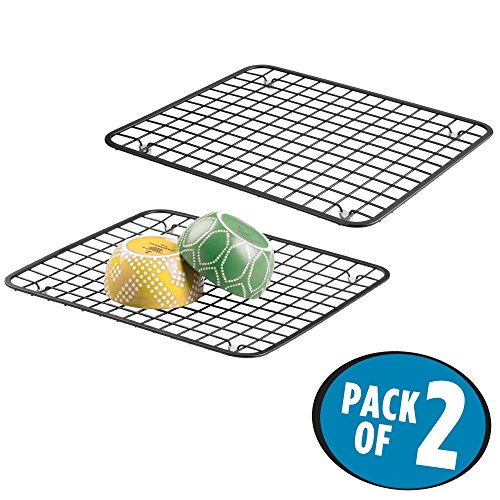 mDesign Modern Kitchen Sink Metal Dish Drying Rack/Mat - Steel Wire Grid Design - Allows Wine Glasses, Mugs, Bowls and Dishes to Drain in Sink - Pack of 2, Steel, Matte Black