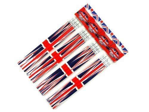 Pencil Set - Union Jack Design, London Souvenir Collection- 4 Packs of 4 Rubber Tipped Pencils- LONPEN002 London Gifts Store