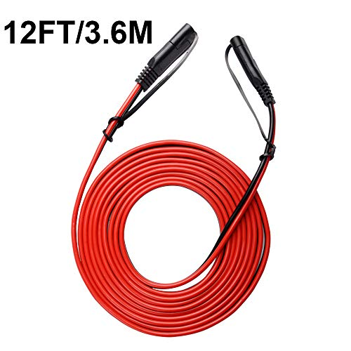 FICBOX 12FT SAE to SAE Connector Extension Cable 16AWG 2 Pin Wire With Dust Cap for Solar Panel Battery Charge