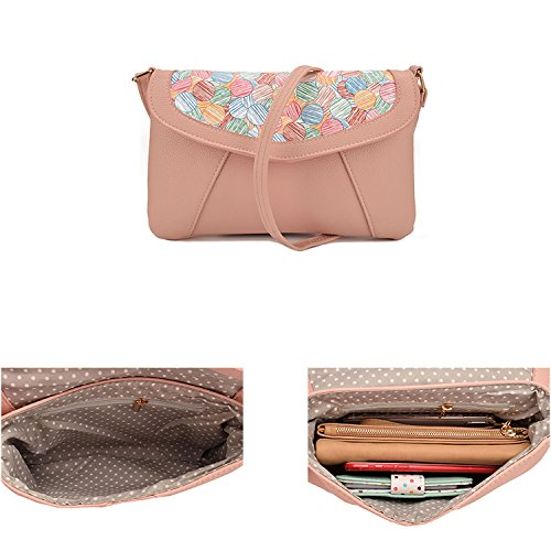 Wallet Crossbody Small Shopper Leather Jiaruo Purse Pink Bag Shoulder Candy xqYAfxSwE