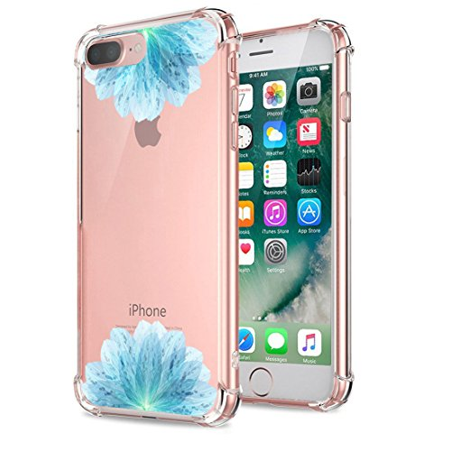 Price comparison product image Beryerbi iPhone 7 Plus Case Ultra Slender Clear Durable Soft TPU Air Cushion Shock Absorption Technology Protective Cover Flower (iPhone 7 Plus, 8)