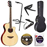 Yamaha APX500III NA Thin Line Acoustic/Electric Cutaway Guitar, Natural Bundle with Hardshell Guitar Case, Guitar Stand, Beginner DVD, Strap, Capo and Guitar Strings