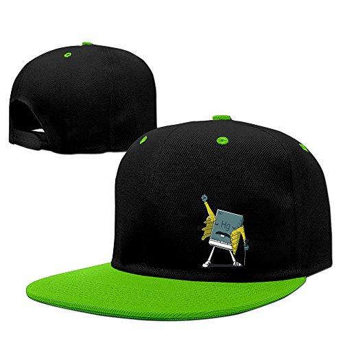 Price comparison product image Cool Boys Girls Funny Chemistry Element Snapback Hip Hop Flat KellyGreen Hat Baseball Cap