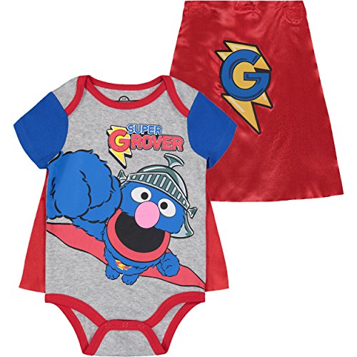 Sesame Street Super Grover Baby Boys' Costume Bodysuit with Cape, Grey (0-3M) -