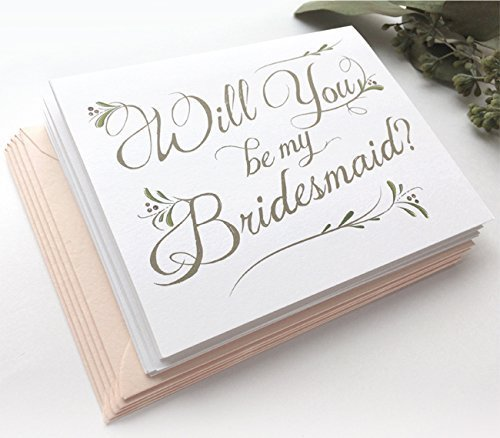 5 Pack - Will You Be My Bridesmaid Cards (4), Maid of Honor Card (1) - Assortment Pack of 5 - Includes Blush Pink Envelopes by Side Street Designs