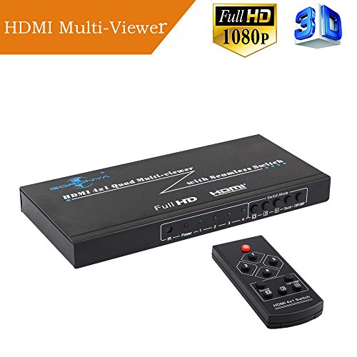 Goronya HDMI 4X1 Quad Multi-Viewer Splitter with Seamless Switcher IR (Input Digital Switcher Scaler)
