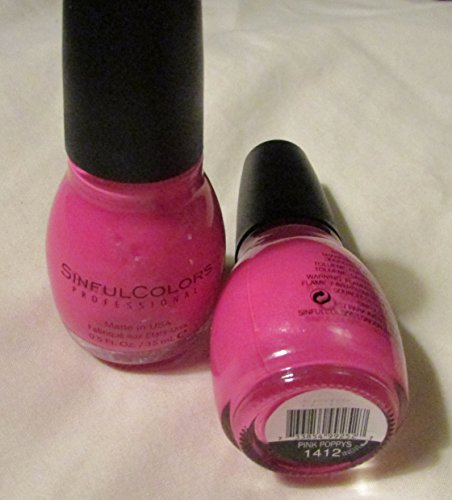 Sinful Colors Professional Nail Color Polish #1412 Pink Poppys, 0.5 Fl Oz